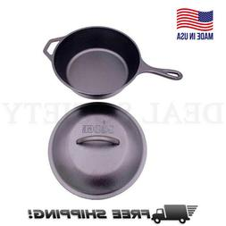 Lodge 3 Quart Cast Iron Deep Skillet with Lid. Covered Cast