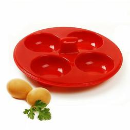 Norpro 9900 Silicone 4 Egg Poacher, Red