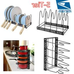 Adjustable 5Tier Pot Frying Pan Lid Storage Rack Organizer C