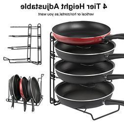 Adjustable Pot Organizer Rack, Gusgu 4-tier Cookware Pots &
