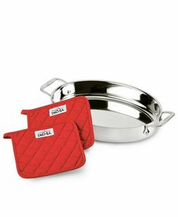 "All-Clad Stainless Steel 15"" Oval Baker with Pot Holders 3 p"