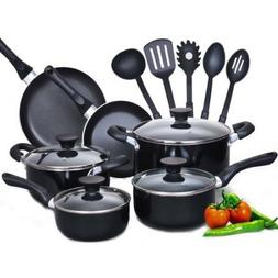 Cook N Home 15-Piece Aluminum Non-stick Soft Handle Cookware