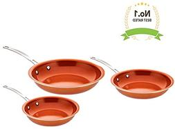 Award Winning Non Stick Copper Ceramic 3 Piece Pan Set - Rou