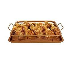 ABTP 2 Pieces Baking Sheet Air Fryer Tray & Mesh Basket Set