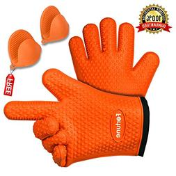 BBQ Grilling Gloves - Best Heat Resistant Oven Mitts For Coo