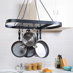 Black Metal Ceiling Mounted Oval Pot Rack, Hanging Cookware