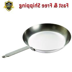 Black Steel Round Frying Pan 9 1/2 In Gray Steel Strip Handl