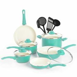 Brand New GreenLife Soft Grip 14pc Ceramic Non-Stick Cookwar