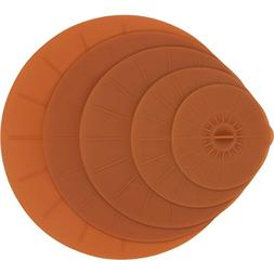 Brown Silicone Suction Lids - 5 Reusable Flat Covers For Foo