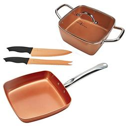 Copper Chef 8 inch Casserole and 11 Inch Fry Pan set with Co
