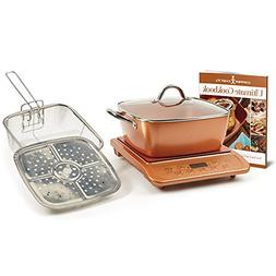 "Copper Chef XL 11"" Casserole 5 pc Set & Induction Cooktop Ca"
