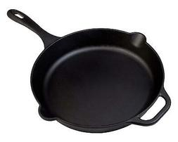 "Cast Iron 12"" Skillet Frying Pan with Durable Long Handle Se"