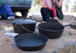 Cast Iron Cookware Set Pan Dutch Oven Pre-Seasoned Skillet C