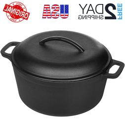 Cast Iron Dutch Oven Pot Pre-Seasoned Fry Pan Cooking Kitche