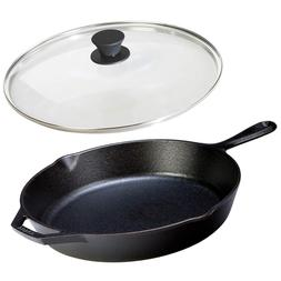 Cast Iron Frying Pan With Lid Set 12 Inch LODGE Cookware Lar