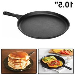 "CAST IRON GRIDDLE 10.5"" Pre Seasoned Kitchen Cookware Pizza"