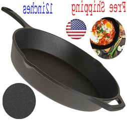 "Cast Iron Skillet 12"" Oven Fry Pan Pot Cookware Pre-seasoned"