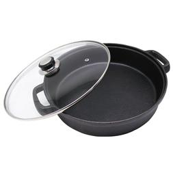 cast iron skillet with tempered glass lid