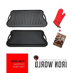 Iron World Cast Iron Griddle Grill Pan - Reversible Nonstick