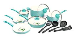 14 Pcs Ceramic Cookware Set Nonstick Pans Stockpot Skillet F