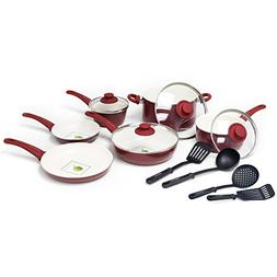 GreenLife Ceramic Non-Stick 14-Piece Soft Grip Cookware Set