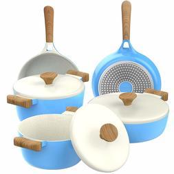 Vremi Ceramic Nonstick Cookware Pots a Frying Pan w/ Lids Di