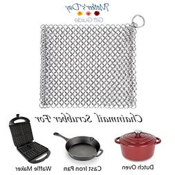 """Chainmail Scrubber Cast Iron Cleaner 8""""8"""" Stainless Steel Sc"""