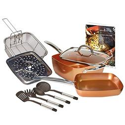 5 Piece Chef Pan Glass Lid Copper Cooking Cookware Set Non-S