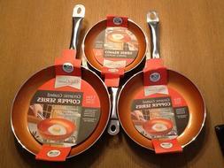 """Chef's Cuisine- 3pc. Set 8"""", 9.5"""", 11"""" Copper Fry Pans Ceram"""