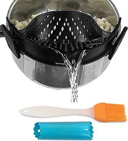 Clip-on kitchen food strainer for spaghetti, pasta, and grou