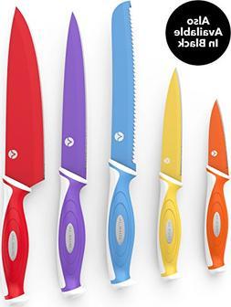 Vremi 10 Piece Colorful Knife Set - 5 Kitchen Knives with 5