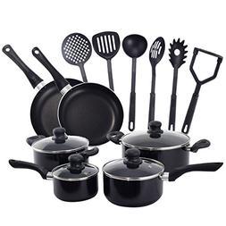 DPThouse 16 Pcs Nonstick Cookware Set Kitchen Scratch-Resist