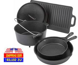 Cast Iron Griddle Dutch Oven Pan Skillet Lid Frying Pot Cook