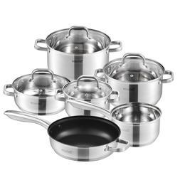 Velaze Cookware Set Stainless Steel 10-Piece Cooking <font><