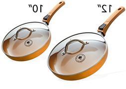 Premium 10 Inch & 12 Inch Copper Ceramic Non Stick Frying Pa