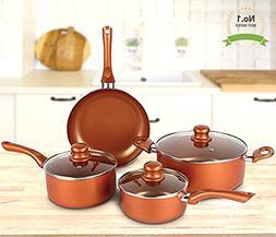 #1 Copper Cookware Set 7-piece Nonstick Ceramic Coating PTFE