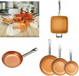 Copper Frying Pan Ceramic NonStick Fry Skillet Cookware Chef