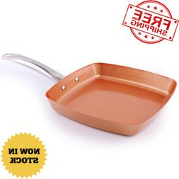 Copper Frying Pan Kitchen Deep Square Nonstick Aluminum Allo
