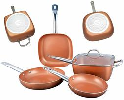 Copper Frying Pan Set with Stainless Steel Handles - 5 Pcs