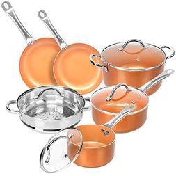 Copper Non-stick 10-piece Cookware Set – Multi-purpose Rou