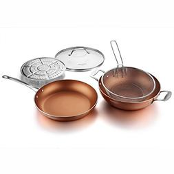 COOKSMARK 12-Inch Nonstick Induction Copper Pan with Lid,Fry