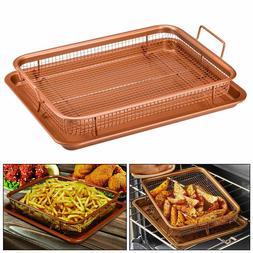 Copper Rectangle Crispy Tray Fry Pan French Baking Basket Ki