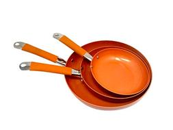 Copper Color Round Nonstick Frying Pan Set by Trademark Inno