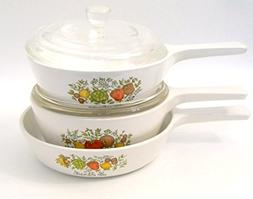 Corning Spice of Life Set of 3, 2 Sauce Pans with Lids, 1 Sk