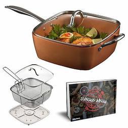 """Pottella Deep Square 9.5"""" Nonstick Copper Pan Chef 5 Piece"""