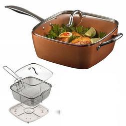 Deep Square 9.5in Nonstick Copper Pan, 5pc Set, Frying Baske