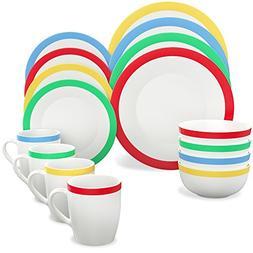 Vremi 16 Piece Dinnerware Set Service for 4 - Round Porcelai