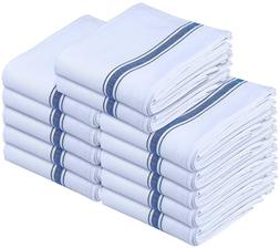Dish Towels 12 White Cotton Striped 15 x 25 Kitchen Tea Towe