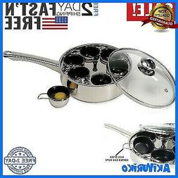 Egg Poacher Stainless Steel Fry Pan w Lid Non-Stick 6-Cups/E