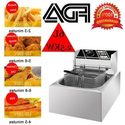 Electric Fryer Deep Pan Kitchen Frying Basket 6L 2500W Comme
